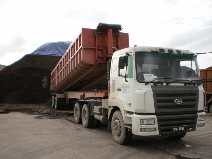 Truck unloading PKS at our yard